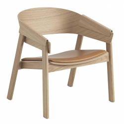 Muuto COVER LOUNGE Krzesło Drewniane - Dębowe / Tapicerowane Siedzisko z Brązowej Skóry