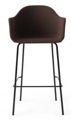 Menu HARBOUR Krzesło Barowe 112 cm Hoker Czarny - Siedzisko Tapicerowane Ciemnoczerwone