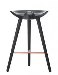 by Lassen ML42 Krzesło Barowe -- Hoker 69 cm Czarny / Poprzeczka Miedziana