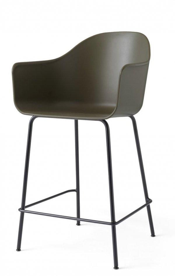 Menu HARBOUR Krzesło Barowe 102 cm Hoker Czarny - Siedzisko Oliwkowe