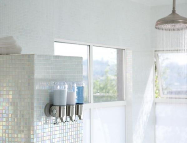Simplehuman - Ścienny Dozownik do Szamponu, Mydła, Żelu pod Prysznic - Potrójny