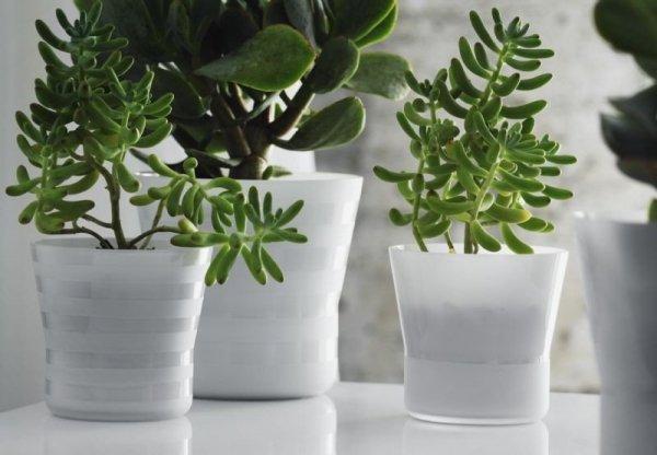 Holmegaard Flower Pot - Doniczka Biała Paski 14 cm
