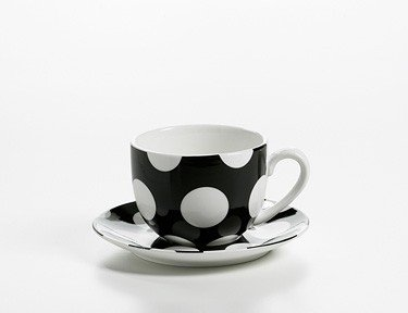 Polka Dot - Filiżanka z Podstawkiem 250 ml Czarna