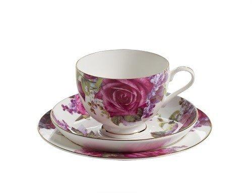 Royal Old England Filiżanka z Podstawkiem i Talerzykiem Liliowa Róża