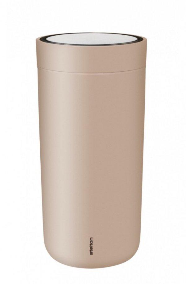 Stelton TO GO CLICK Stalowy Kubek Termiczny 400 ml Soft Nude