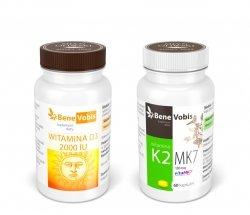 --- ZESTAW 1+1 --- Witamina D3 2000IU + K2 MK7 (vitaMK7®) 100mcg - 2 x 60 kaps.
