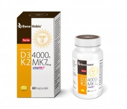 Bene Vobis - Witamina D3 FORTE 4000IU + K2 MK7 (vitaMK7®) 100mcg - 60 kaps.