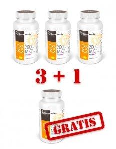 --- ZESTAW 3+1 GRATIS --- Witamina D3 2000IU + K2 MK7 (vitaMK7®) 100mcg - 120 kaps.