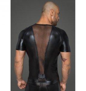 H056 Men's T-shirt made of powerwetlook with 3D net inserts S