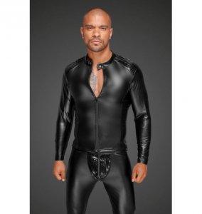 H052 Powerwetlook men's jacket with pleated PVC epaulets XL