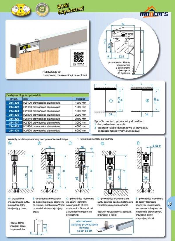 Prowadnica szyna AL H2 do drzwi przesuwnych 1500mm herkules