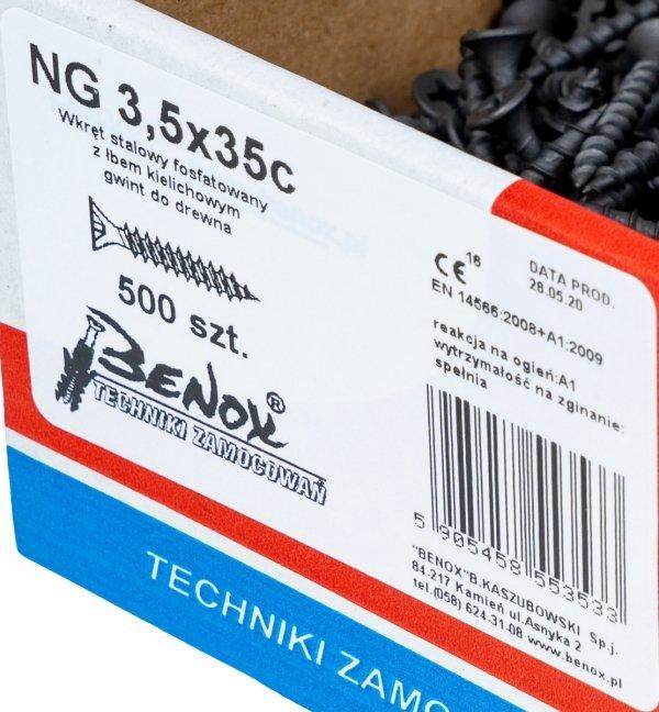 Wkręty czarne płyt gk karton gips/drewn 3,5x35 500szt. NGc