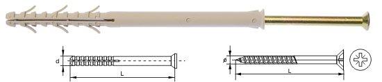 Kołki ramowe rozporowe wkręt krzyżowy 8x100 100szt