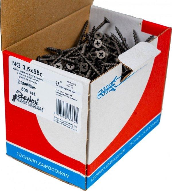 Wkręty czarne płyt gk karton gips/drewn 3,5x55 500szt. NGc