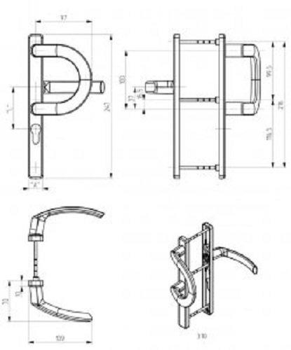 """Klamko-pochwyt """"P"""" Jowisz 32 P Biały 9016 92mm"""