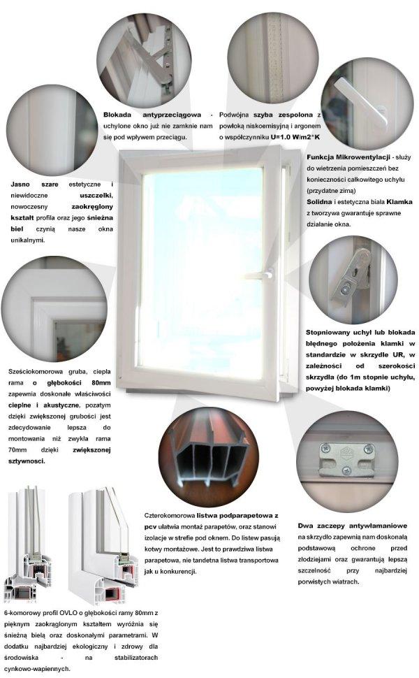 Okno PCV 865x835 uchylno-rozwierne lewe białe