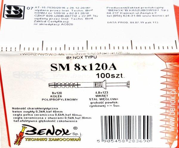 Kołki rozporowe 8x120 szybkiego montażu 100szt