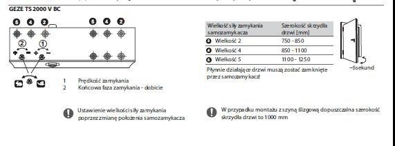 Samozamykacz Geze TS2000 VBC+Ramie srebrny