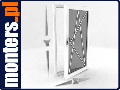 Okno PCV 865x1435 uchylno-rozwierne prawe białe