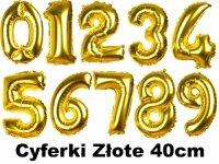 Balony Cyferki Złote 40cm