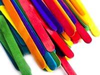Patyczki Drewniane Kolorowe Do Lodów Małe [ Zestaw 10 sztuk ]