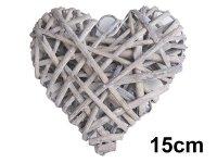 Serce Wiklinowe Szare 15cm [Komplet - 10 sztuk]