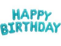 Balon Foliowy Happy Birthday Błękit [ Komplet - 5 szt]
