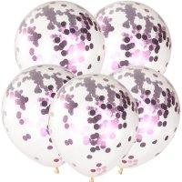 Balony Krystaliczne Z Różowym Konfetti [Zestaw - 100 sztuk]
