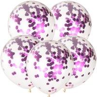 Balony Krystaliczne Z Amarantowym Konfetti [Zestaw - 100 sztuk]