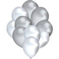 Balony Metalik Perłowe/Srebro [Komplet - 5 opakowań]