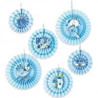 Rozety Papierowe Niebieskie Baby Shower [komplet - 2 opakowania]