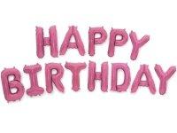 Balon Foliowy Happy Birthday Jasny Róż [ Komplet - 5 szt]