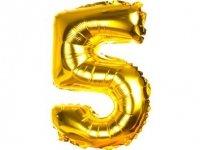 Balony Foliowe Cyferka 5 Złota 100cm - [ Komplet - 10 sztuk]