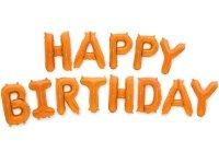 Balon Foliowy Happy Birthday Pomarańcz [ Komplet - 5 szt]