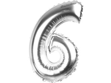 Balony Foliowe Cyferka 6 Srebrna 70cm - [ Komplet - 10 sztuk]