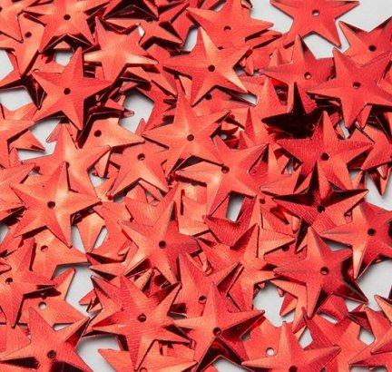 Cekiny Gwiazdki Duże 15mm Czerwone - [ Komplet - 20 sztuk]