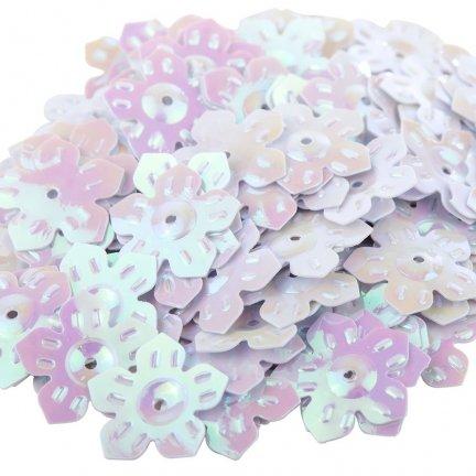 Cekiny Kwiatki Nacinane Białe - [ Komplet - 20 sztuk]