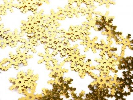 Cekiny Śnieżynki Duże Złote - [ Komplet - 20 sztuk]
