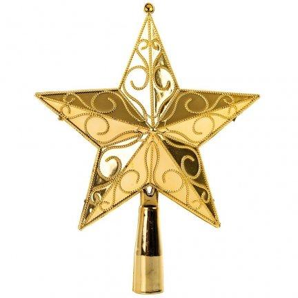 Gwiazda Złota Pełna Czubek Dekor Mały [Komplet - 5 sztuk]