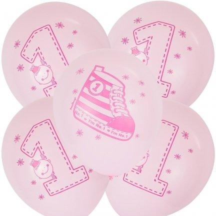 Balony Jedynka/Trampek Róż [Komplet - 5 opakowań]