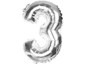 Balony Foliowe Cyferka 3 Srebrna 40cm - [ Komplet - 20 sztu]