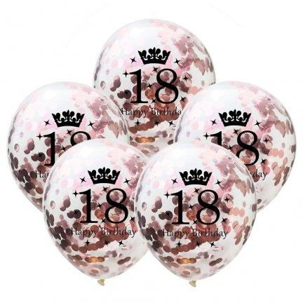 Balony Crystal 18 Z Różowym Konfetti [Komplet - 5 opakowań]