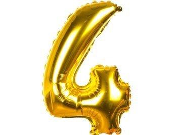 Balony Foliowe Cyferka 4 Złota 40cm - [ Komplet - 20 sztuk]