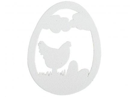 Jajko Drewniane z Kurą Białe 15szt [ Zestaw - 5 Kompletów]