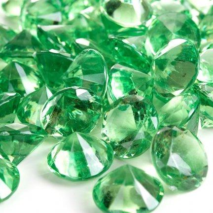 Diamenciki Kryształki Zielone 19mm  [ Komplet - 10 Paczek]