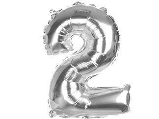 Balony Foliowe Cyferka 2 Srebrna 100cm - [ Komplet - 10 sztu]