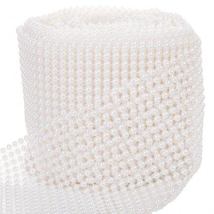 Perełki Na Taśmie Białe 4mm 12cm 9m [Komplet 5szt]