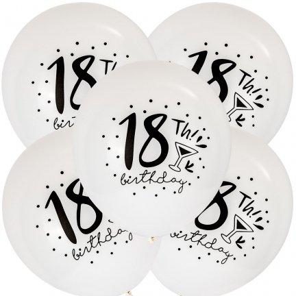 Balony 18th Birthday Kieliszek Białe [Komplet - 5 opakowań]