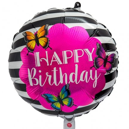 Balon Foliowy Motyle Happy Birthday [Komplet - 4 sztuki]