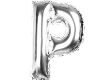 Balony Foliowe Literka P Srebrna 40cm - [ Komplet - 20 sztuk]